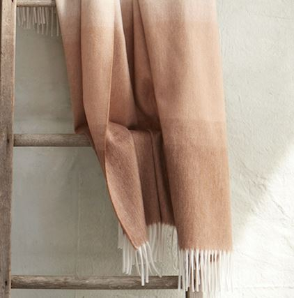Fig Linens - Matouk - August Dune  Throw - Cashmere throw with fringe