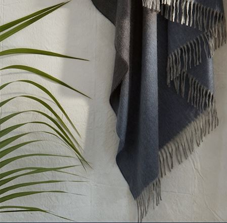 Fig Linens - Matouk - August Evening Throw - Blue cashmere throw with fringe