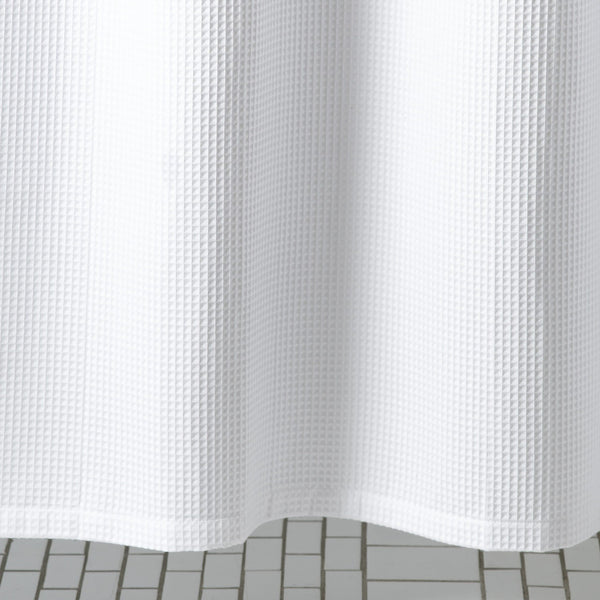 Belgian Waffle White Shower Curtain by Matouk | Fig Linens