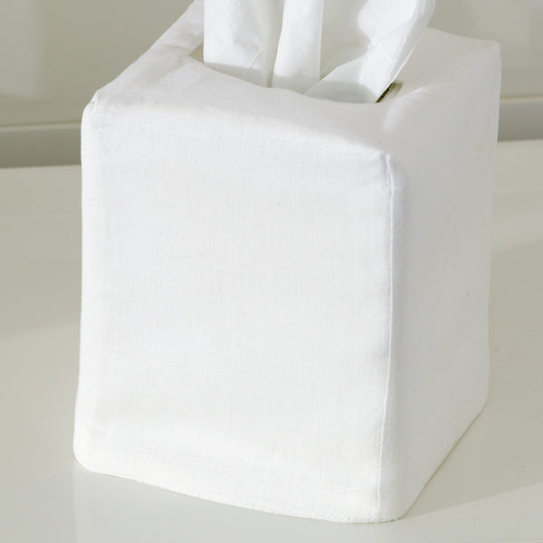 Plain white tissue box cover by Matouk - Fig Linens