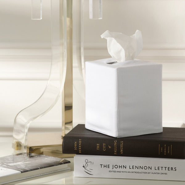 Matouk Plain White Tissue Box Cover | Fig Linens and Home