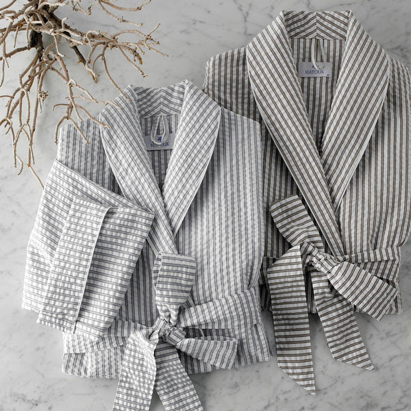 Matouk Matteo Bathrobe - Cotton Seersucker striped robe - Fig Linens and Home