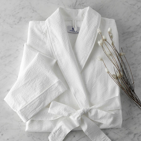 White Seersucker Lightweight Robe by Matouk | Fig Linens