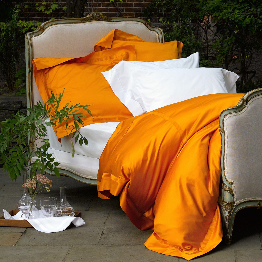 Fig Linens - Nocturne Tangerine Bedding Collection by Matouk - Duvet covers, sheets, shams