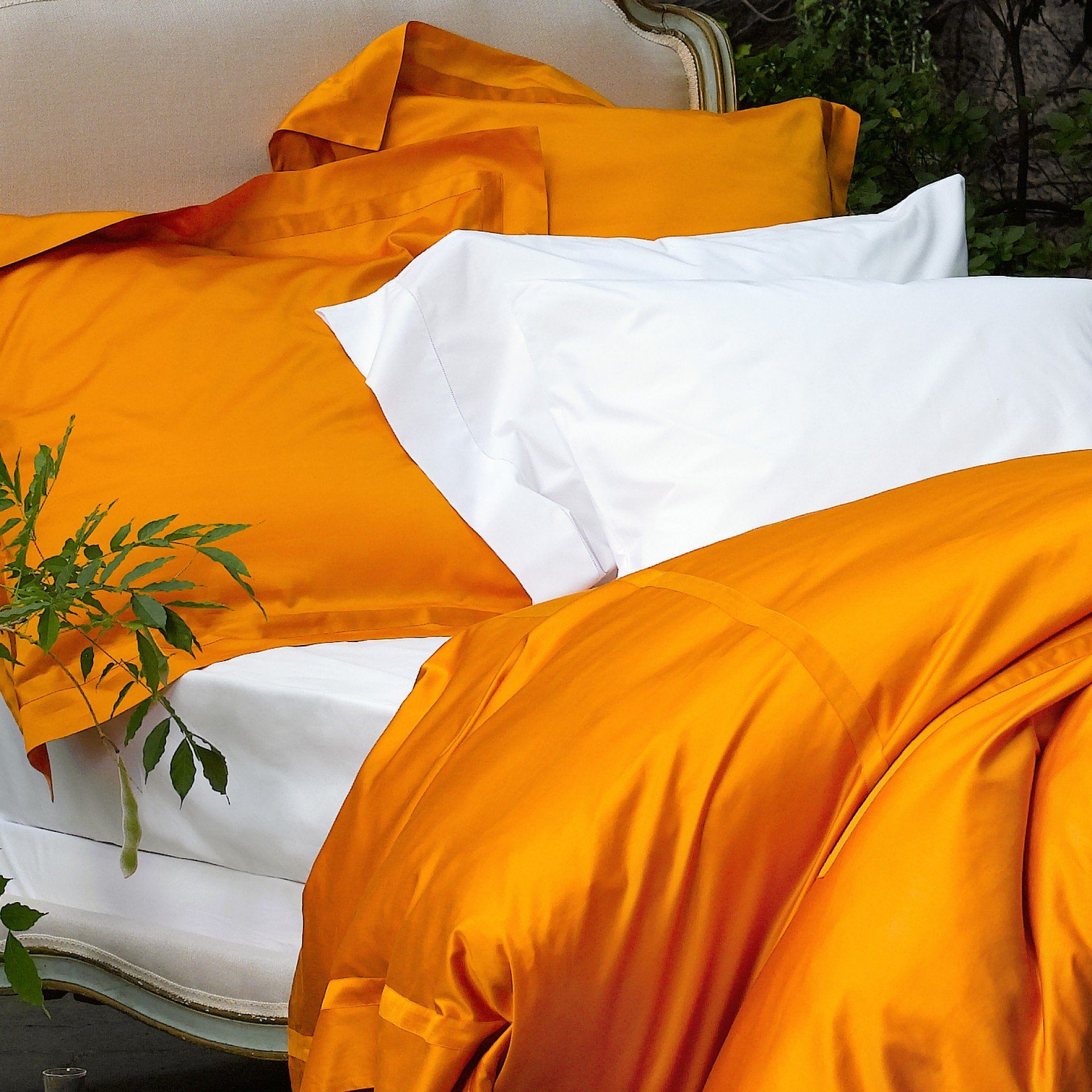 Nocturne Tangerine Duvet Covers by Matouk | Fig Linens and Home