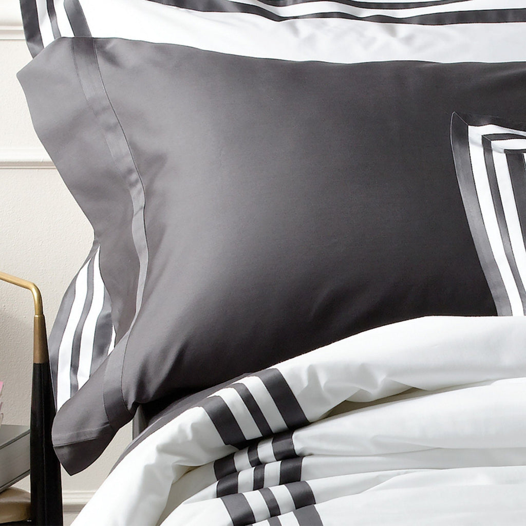 Nocturne Charcoal Flat Sheets & Cases by Matouk | Fig Linens and Home