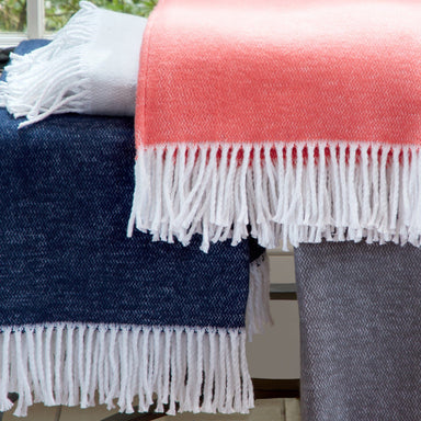 Pezzo Cotton Throws by Matouk | Shop Fig Linens - coral throw