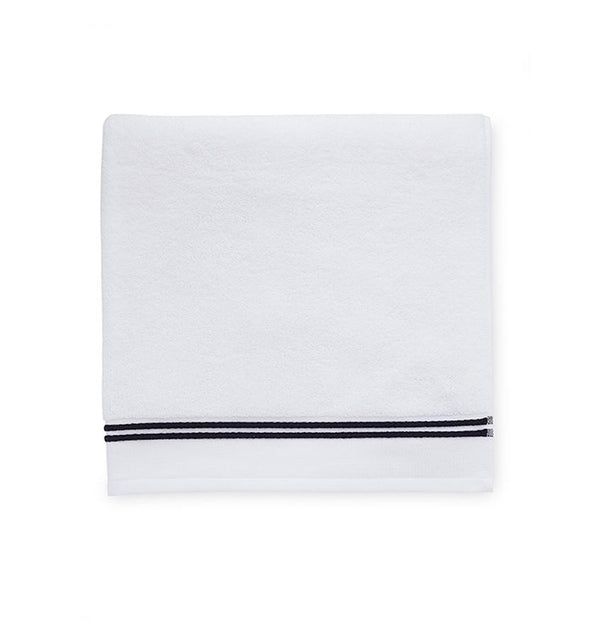 Aura by Sferra - White bath towels with black - Fig Linens