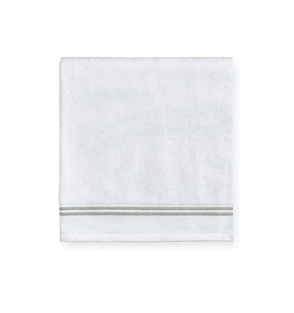 White bath towels with green border - Aura Celadon by Sferra - Fig Linens