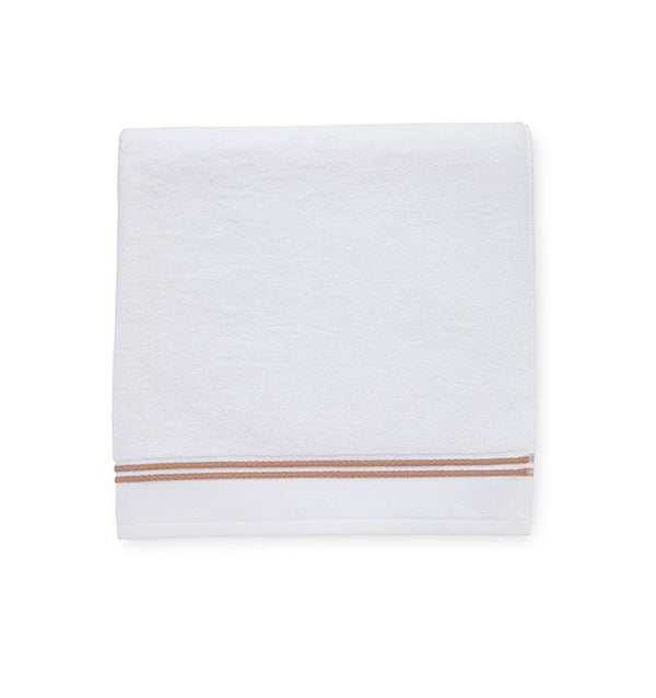 White cotton towels with copper border - Aura Bath Towels by Sferra - Fig Linens
