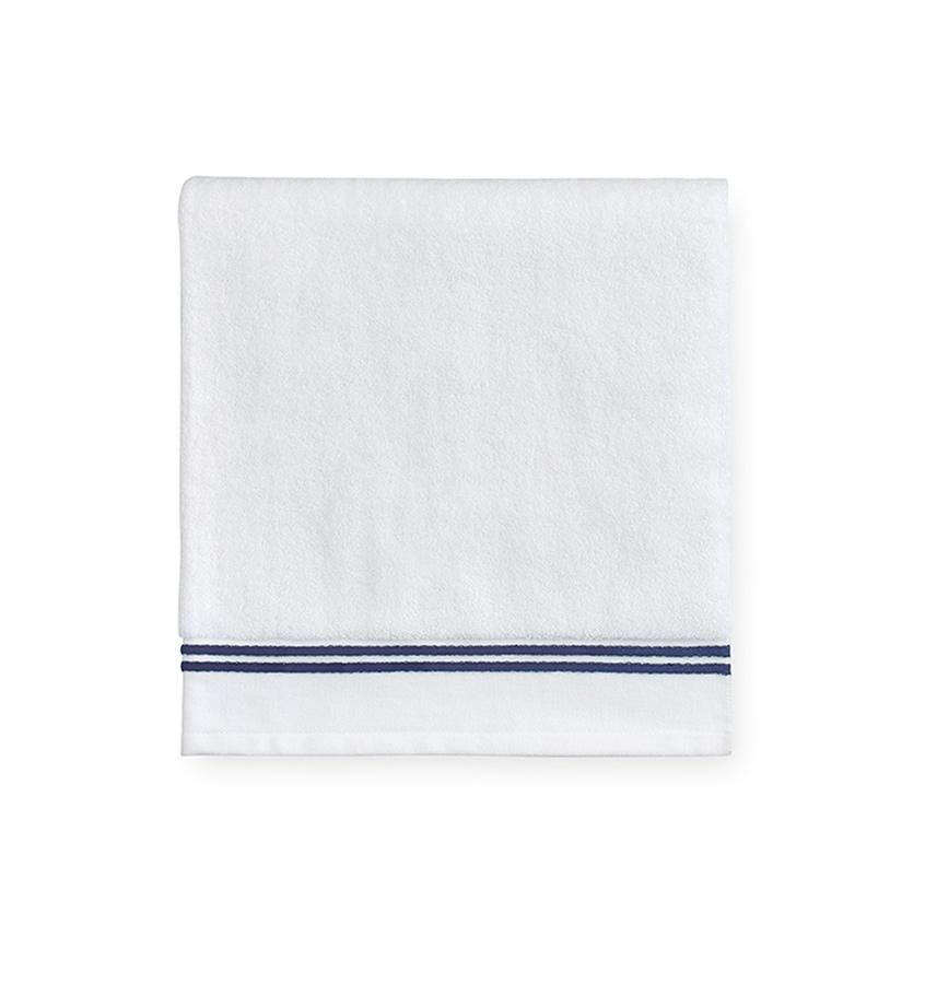 Aura White & Dark Blue Bath Towels