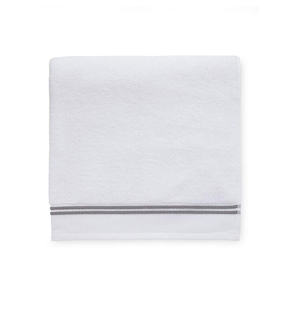 White bath towels with gray stripe - Aura by Sferra - Fig Linens