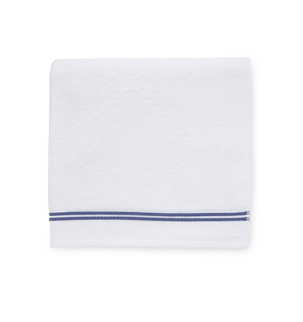 White bath towel with navy stripe - Aura by Sferra - Fig Linens