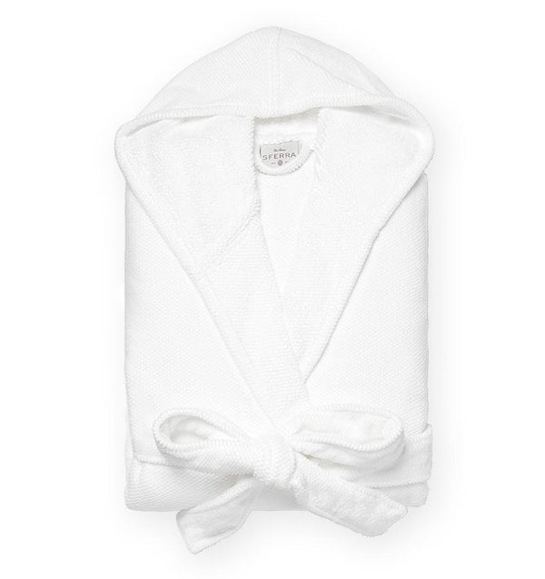 White hooded bathrobe with pockets and belt - Canedo by Sferra - Fig Linens