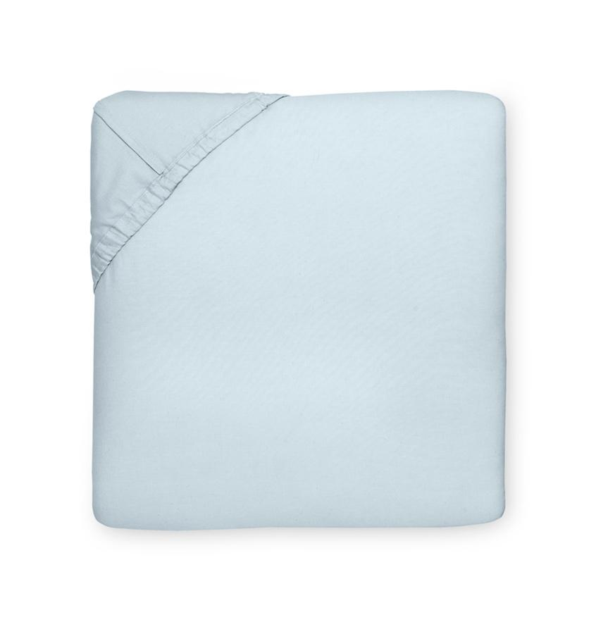 Celeste Sheeting by Sferra | Fig Linens - Fitted sheet blue