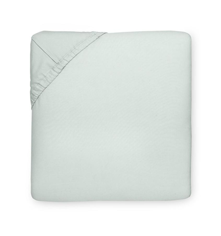 Celeste Sheeting by Sferra | Fig Linens - Fitted sheet silver sage green