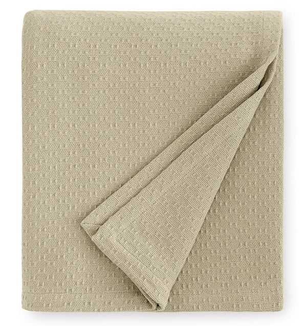 Corino Oat Cotton Blanket by Sferra |  Fig Linens and Home - Taupe cotton blanket