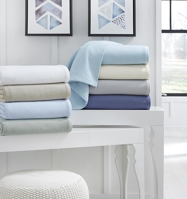 Corino Powder Blue Cotton Blanket by Sferra |  Fig Linens and Home