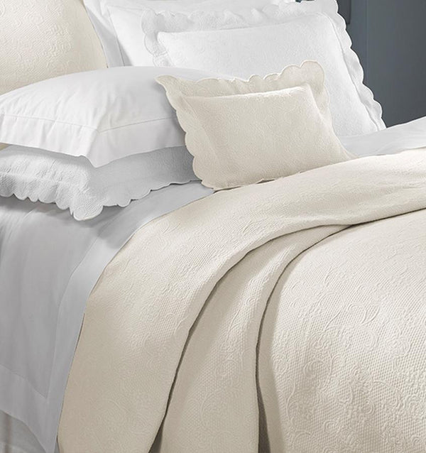 Fig Linens - Alice Bedding Collection by Sferra - Ivory, White, Blanket cover and shams