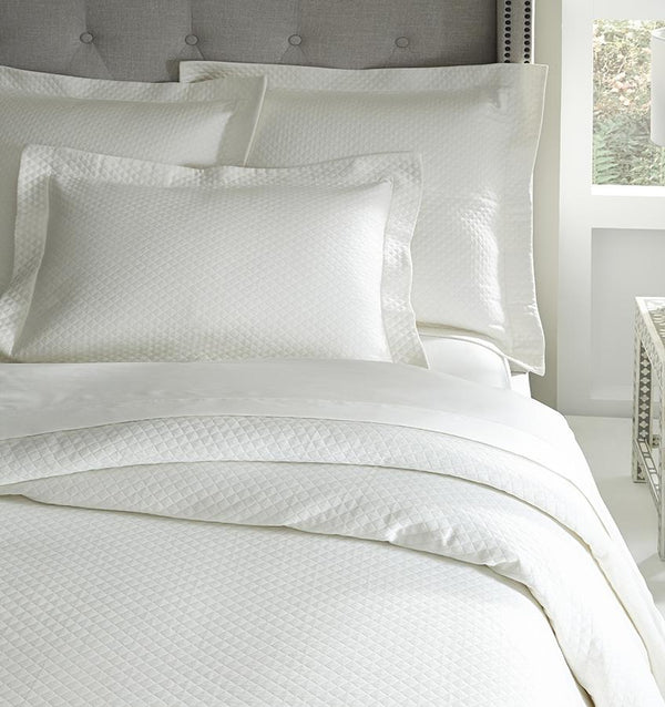 Fig Linens - Bari Coverlets and Shams by Sferra - White blanket cover and sham