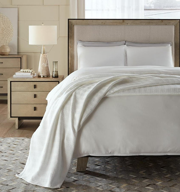 Bessini White Cotton Blanket by Sferra | Fig Linens and Home