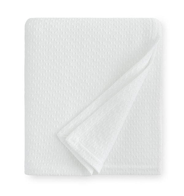 Corino White Cotton Blanket by Sferra | Fig Linens and Home - White lightweight blanket