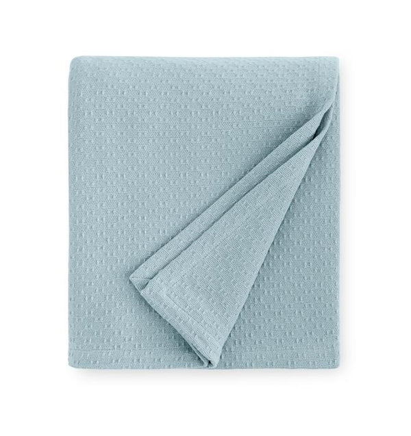 Corino Poolside Cotton Blanket by Sferra |  Fig Linens and Home - Blue cotton blanket