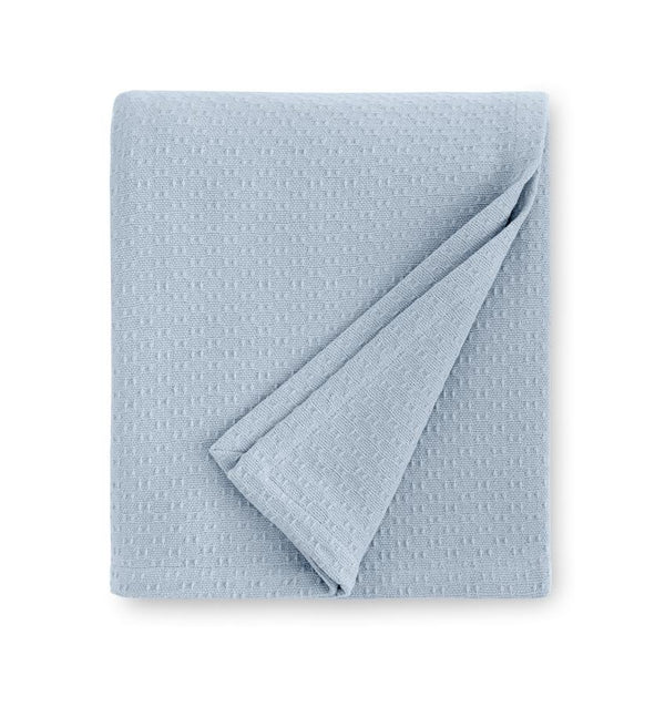 Corino Powder Blue Cotton Blanket by Sferra |  Fig Linens and Home - Blue cotton blanket