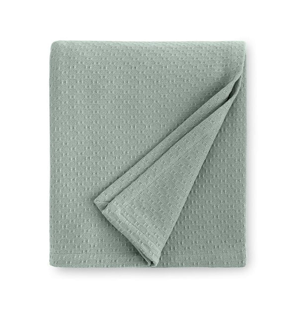 Corino Seagreen Cotton Blanket by Sferra |  Fig Linens and Home - Green Cotton blanket