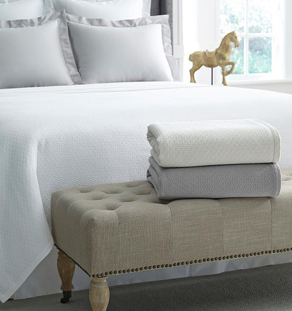 Corino White Cotton Blanket by Sferra | Fig Linens and Home