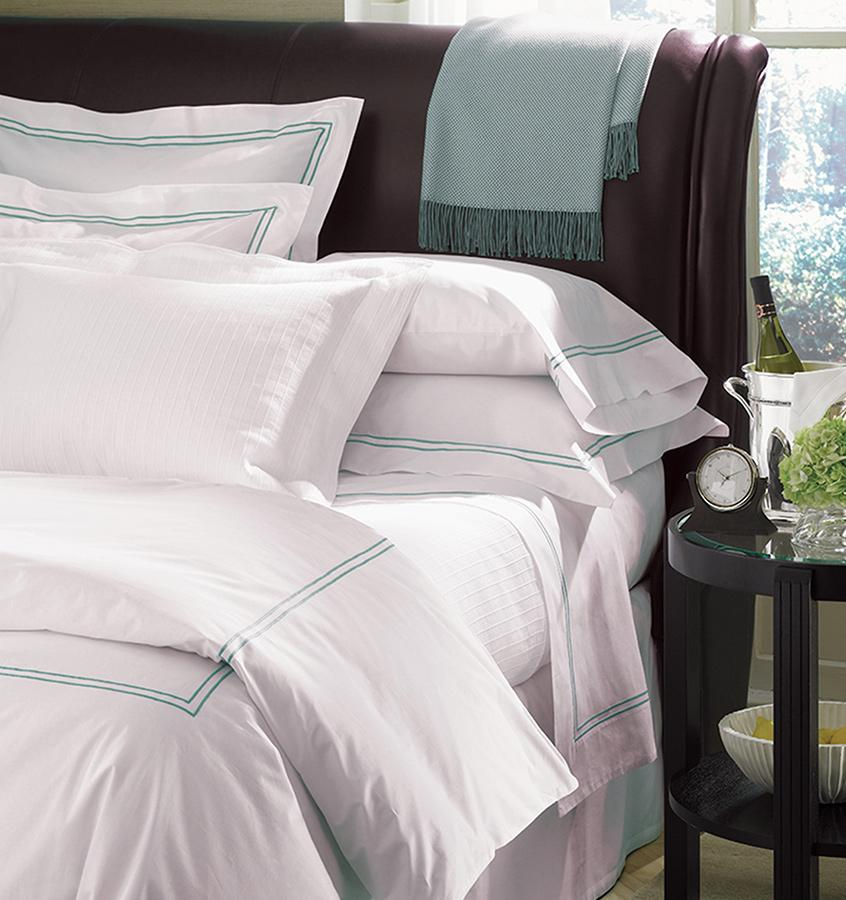 Fig Linens - Sferra Bedding - Grand Hotel White and Aqua Duvet and Shams
