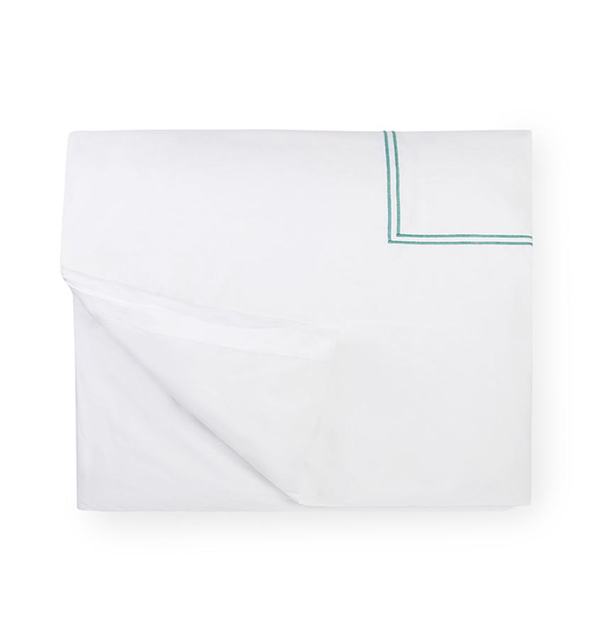 Fig Linens - Sferra Bedding - Grand Hotel White and Aqua Duvet