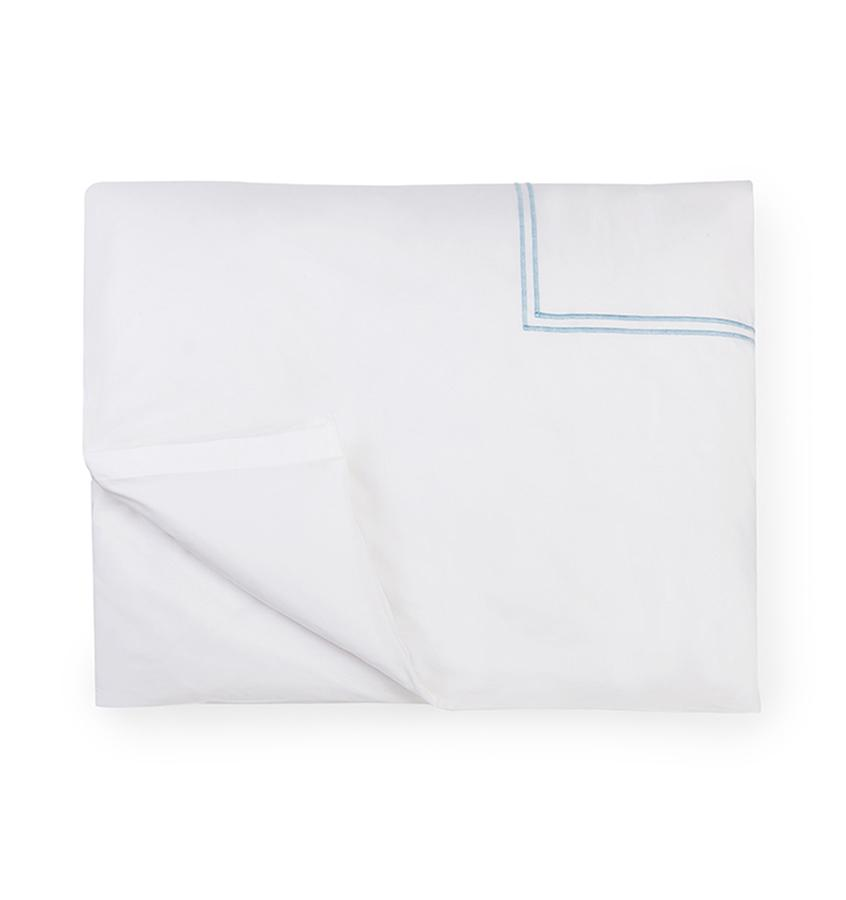 Fig Linens - Sferra Bedding - Grand Hotel White and Blue Duvet