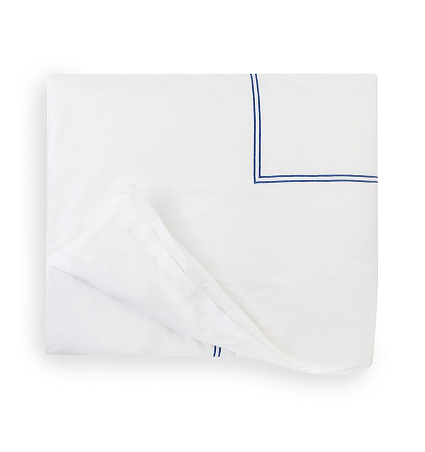 Fig Linens - Sferra Bedding - Grand Hotel White and Cornflower Blue Duvet