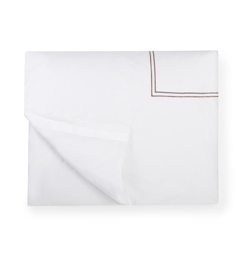 Fig Linens - Sferra Bedding - Grand Hotel White and Grey Duvet