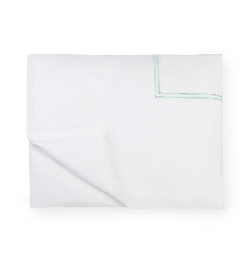 Fig Linens - Sferra Bedding - Grand Hotel White and Mist Duvet