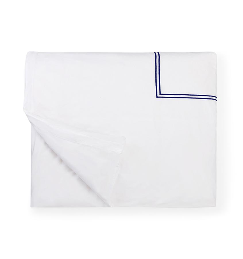 Fig Linens - Sferra Bedding - Grand Hotel White and Navy Duvet