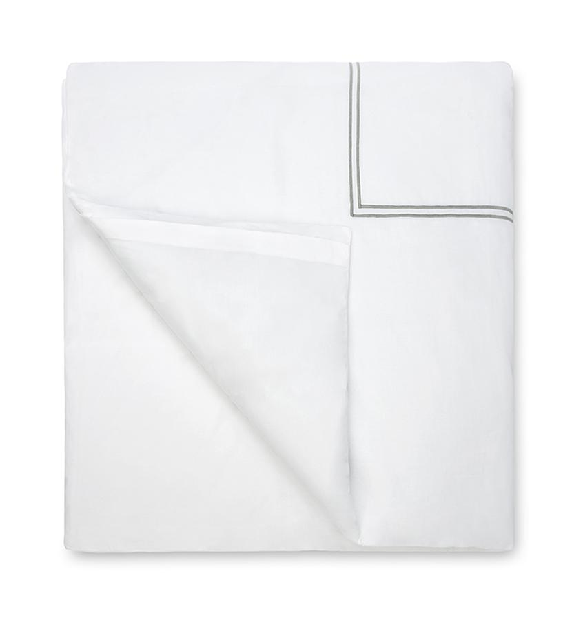Fig Linens - Sferra Bedding - Grand Hotel White and Silver Bedding