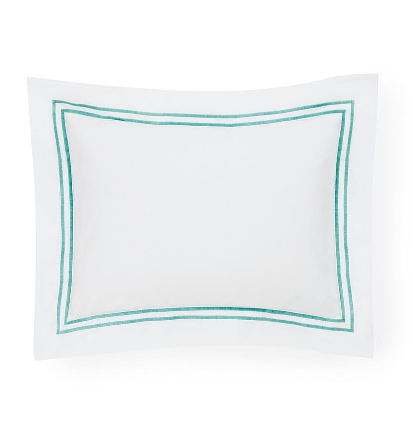 Fig Linens - Sferra Bedding - Grand Hotel White and Aqua Sham