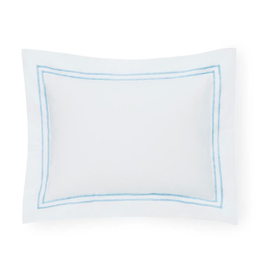 Fig Linens - Sferra Bedding - Grand Hotel White and Blue Sham