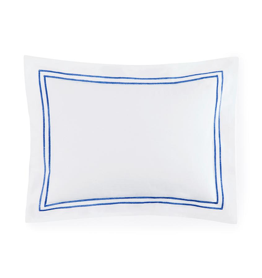 Fig Linens - Sferra Bedding - Grand Hotel White and Cornflower Blue Sham