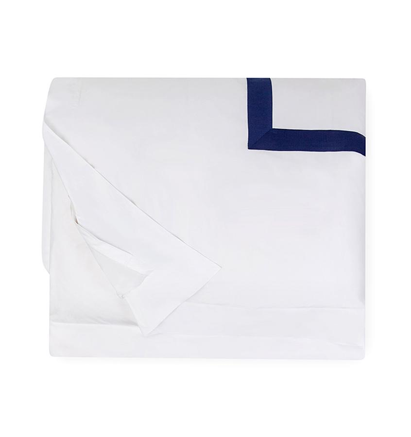 Fig Linens - Orlo Bedding by Sferra - White, navy duvet cover