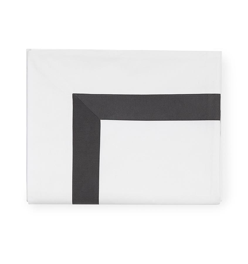 Fig Linens - Orlo Bedding by Sferra - White, charcoal flat sheet