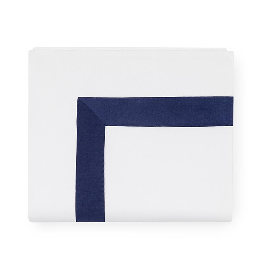 Fig Linens - Orlo Bedding by Sferra - White, navy flat sheet