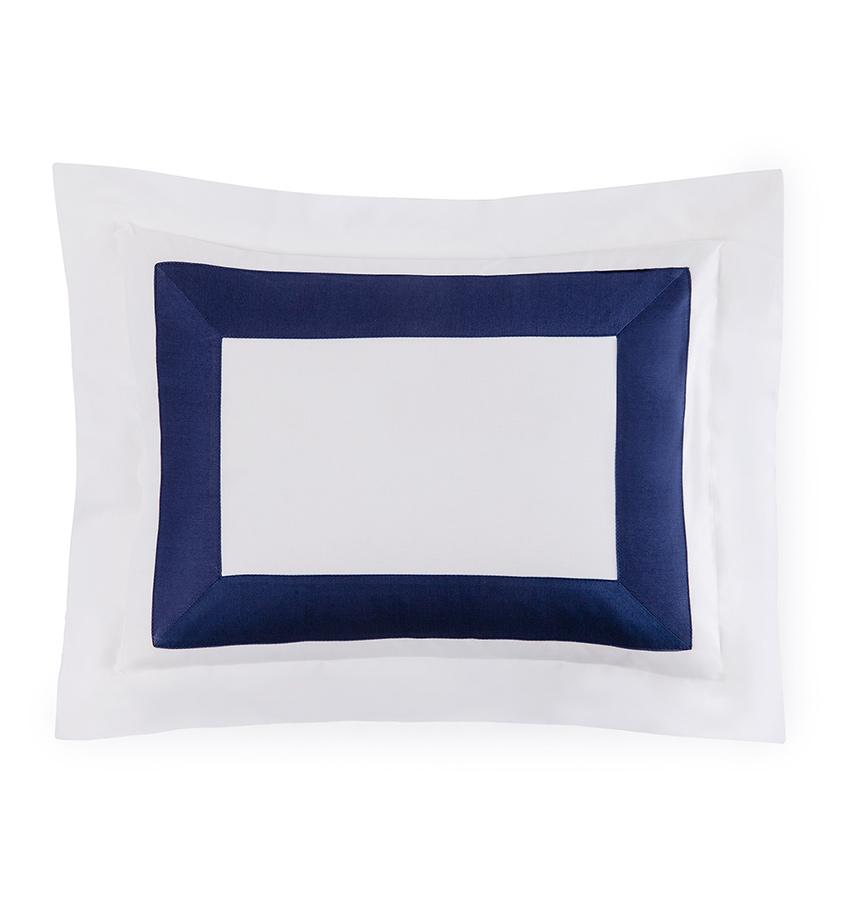 Fig Linens - Orlo Bedding by Sferra - White, navy boudoir sham