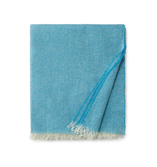Ciarra Teal Cashmere Throw by Sferra | Fig Linens - Teal blue accent throw blanket