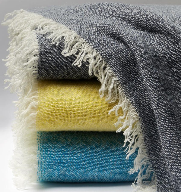 Ciarra Teal Cashmere Throw by Sferra | Fig Linens - Throw blankets