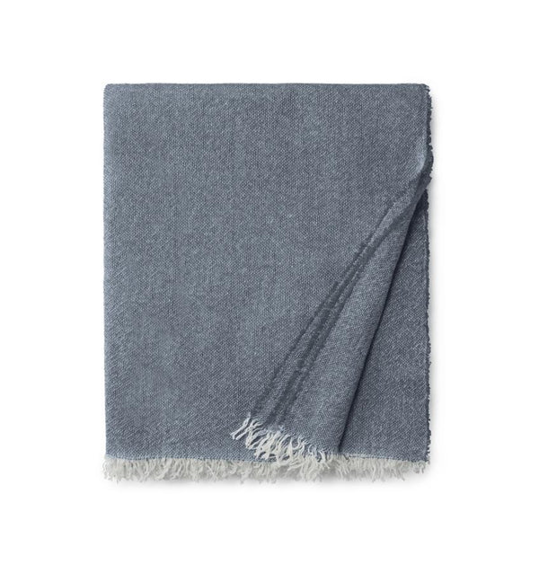 Ciarra Navy Blue Cashmere Throw by Sferra | Fig Linens - Blue accent throw blanket
