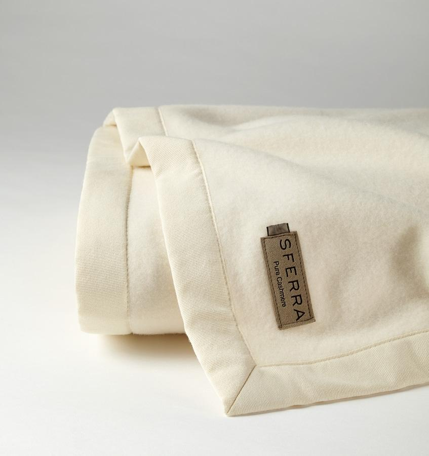 Savoy Cashmere Blanket by Sferra | Fig Linens - Ivory blanket