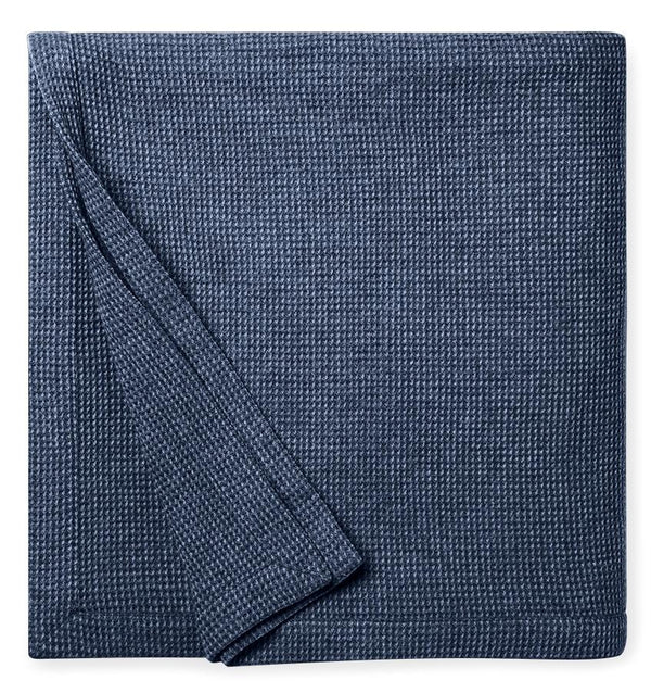 Talida Navy Wool Blanket by Sferra | Fig Linens - Delft and navy wool blanket
